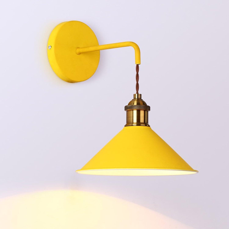 LED Wandleuchten Macarons Moderne Wandleuchte Kreative Einfache Warme Nachttisch Wandleuchte Gang Balkon Terrasse Wand Treppen DE (Farbe   Lemon Gelb)