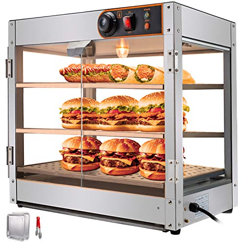 VEVOR 110V 24-Inch Commercial Food Warmer Display 3-Tier 800W Electric Countertop Food Warmer Display 86-185℉ Pastry Display Case with 2 Trays & 1 Bread Tong for Buffet Restaurant Hamburger Pizza