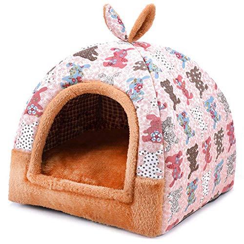 Hanshu - Casa para mascotas 2 en 1, incluye un sofá interior suave y cálido lavable. Cama como forma de iglú para perros y gatos
