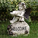 OwMell Welcome Sign Garden Angel Statue Sculpture Figurine, Brown Wings Angel Birdfeeder Statue Indoor Outdoor Home Garden Decoration, Resin 13 Inch