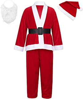 Agoky Kids Boys Father Christmas Fancy Dress up Costumes Girls Xmas Santa Claus Suit Party Outfit With Hat Beard Set