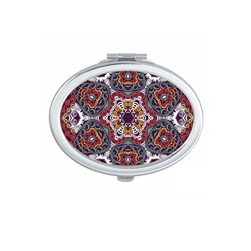 Boeddhisme Religie Boeddhistische Kleurrijke Asymmetrische Abstract Ronde Illustratie Patroon Ovaal Compact Make-up Pocket Spiegel Draagbare Leuke Kleine Hand Spiegels