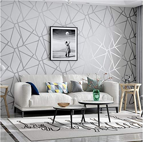 Grau thema 3D Mode Geometrische dreieck Tapeten Modernes Design Silber Streifenmuster Tapetenbahn Schlafzimmer Wohnzimmer Dekoration(5.3 ㎡)