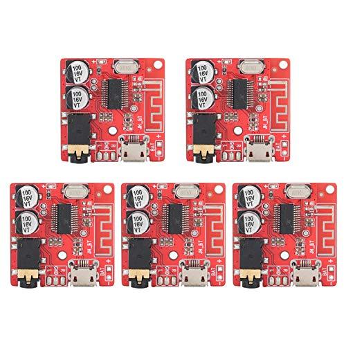 Ladieshow Módulo Receptor de Audio, 5 Piezas DIY Bluetooth 5,0, Placa receptora, Placa decodificadora sin pérdidas, módulo de música estéreo inalámbrico