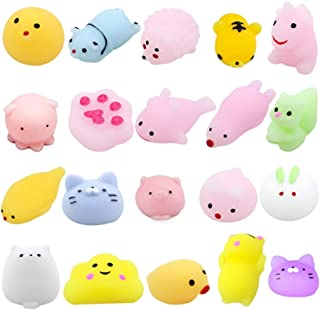 Mochi Squishy Toys for Party Favors, Random 20 Pack Mini Soft Cute Squishies Squishy Cat Animal Squishies Pack Stress Relief Toys for Kids Party Gift Adults Kids Class Prizes