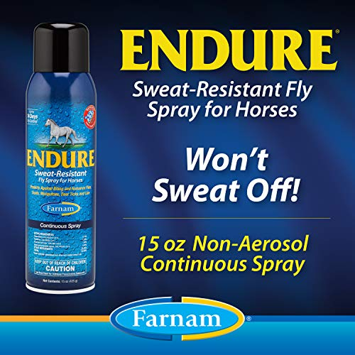 Farnam Endure Sweat-Resistant Fly Spray for Horses, 14 Day Long-Lasting Protection, 15 Ounce Continuous Spray
