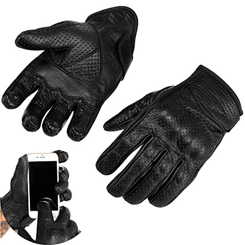Viking Cycle Men's Premium Leather Perforated Touch Screen Motorcycle Gloves (Black, Medium)