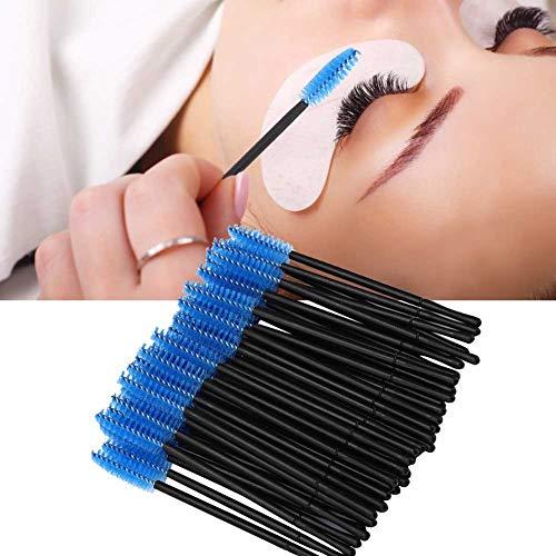 100 pcs Brosse À Cils Jetable, 5 Couleurs Mascara Baguettes Applicateur Maquillage Cosmétique Brosses Set Eye Lash Sourcil Applicateur Outils Kits(bleu)