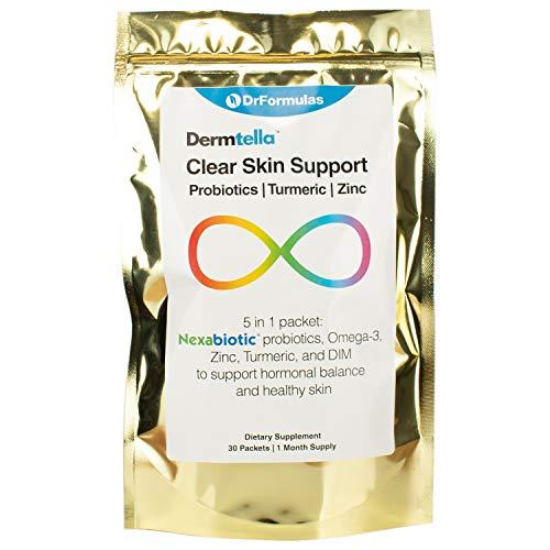 DrFormulas Cystic Acne Treatment Pills with Probiotics & DIM | Dermatrope Supplements for Women, Teens & Men Hormonal Cystic Back Skin Acne | Nexabiotic, Turmeric, Fish Oil for Proactive Pimples Scar