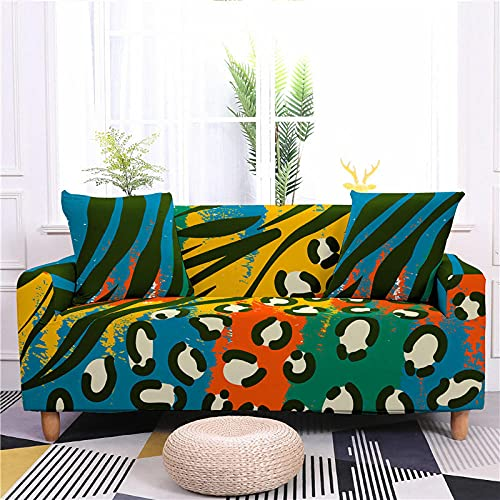 Fundas Sofas 3 y 2 Plazas Ajustables Azul Amarillo Naranja Verde Fundas para Sofa Spandex Lavables Desmontables Fundas Sofa Elasticas Cubre Sofa Modernas Universal Espesas Funda para Sofa