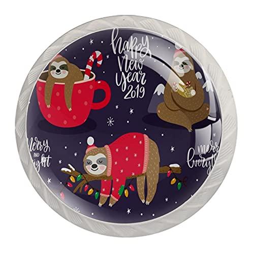 LUPIN Paquete de 4 pomos para gabinete de Navidad lindo bebé perezoso sueño en la taza, pomos de colores para cajones