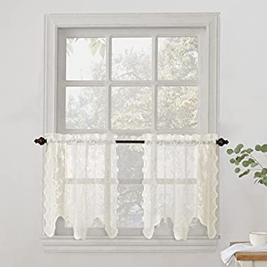 No. 918 Alison Floral Lace Sheer Curtain Tier Pair, 58  x 24 , Ivory White