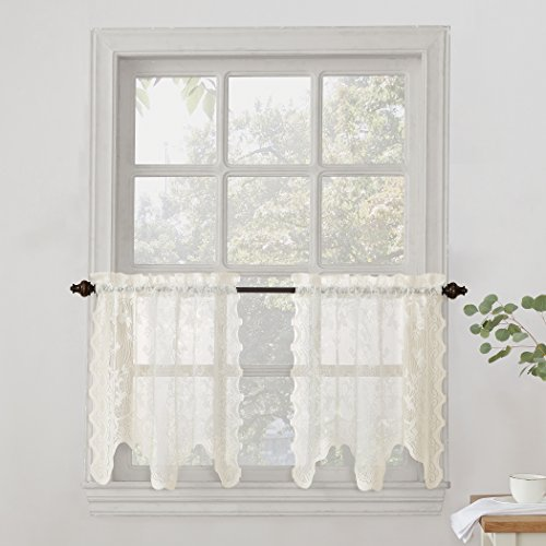 """No. 918 Alison Sheer Lace Kitchen Curtain Tier Pair, 58"""" x 24"""", Ivory"""