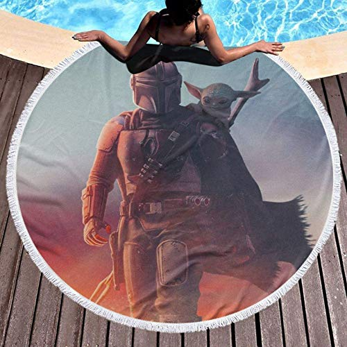 Meili TV Show Mandalorian Beach Towel Round Oversized Soft Comfortable Qui Dry Throw Blanket Beach Towel Can Be Use On for Home Decoration