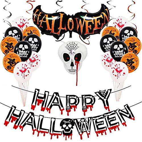 RXLLSY Happy Halloween Banner Pumpkin Ghost Globos Pumpkin Bat Spooky Spiders Set para Halloween Decoración Interior al Aire Libre, Spoof Tricky Halloween Party Decoraciones,A