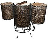 Doun Doun Ø 40 x 50 cm aus Bambus mit Ziegenfell bespannt Trommel Percussion Konzert eine Basstrommel incl. 2 Sticks