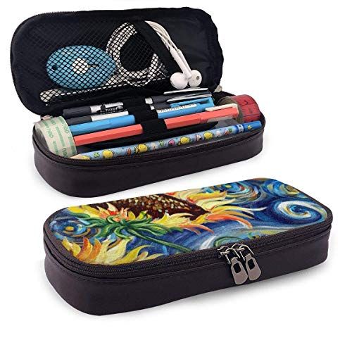 Starry Night and Sunflowers Oil Painting Large Capacity Stationery Bag Basic Pencil Cases