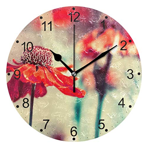 Nifdhkw Ornament Pattern Wall Clock Silent Non Ticking Acrylic Decorative 10 Inch Round Clock for Home Office School