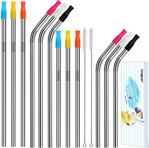 longzon 12pcs Pajitas Reutilizables de Metal Pajitas de Acero Inoxidable con 2 cepillitos,12 pcs boquillas de silicona y bolsita para guardar,sin BPA para Bebidas,Cada tamaño de 3 rectas,3 curvados