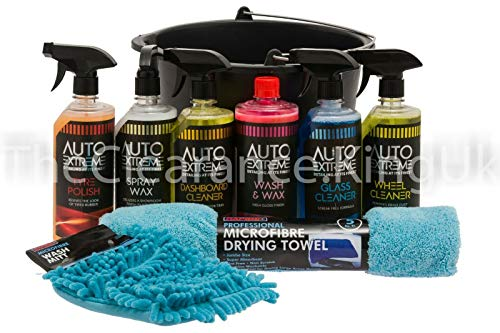 9pc Car Cleaning Kit, Wash kit, valet, Wash & Wax Set, Drying Towel Cleaning Mit Bucket