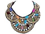ALILANG Frauen Tribal Woven Bunte Wulstige Perlen Bib Statement Halskette