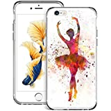 Blue Glitter Anchor iPhone 6s 6 Case Customized Design Anti-Scratch Flexible Shock Absorption Soft TPU Protective Phone Case for iPhone 6s 6-Clear (Ballet Dance Girl, iPhone 6 6s)