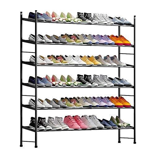 6-stufiger stapelbarer und ausziehbarer Schuhregal-Aufbewahrungsorganisator (61-110) * 23 * 103 cm
