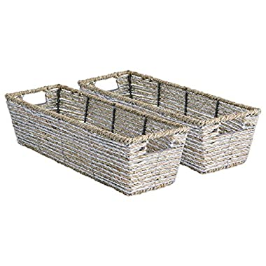 DII Decorative Woven Seagrass Table Basket with Metallic for Bathroom & Home Organization Solutions to Enhance Décor & Add Functionality (Tray 16x5x4 ) Silver - Set of 2