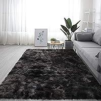 ラグ カーペット 長方 形,For リビングや寝室 ベッドルーム・シェッド カーペット,極厚 ソフトスリップ 簡単に清掃 カーペット,ふわふわ 居心地 ラグ-ブラックグレー. 140x200cm