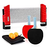 XGEAR Juego de Ping Pong con 2 Raquetas + 3 Bolas Pelotas Tenis de Mesa + 1 Red Retráctil + 1 Bolsa Conjunto de Pingpong Set Portátil para Interior al Aire Libre Regalo (Rojo Clásico)