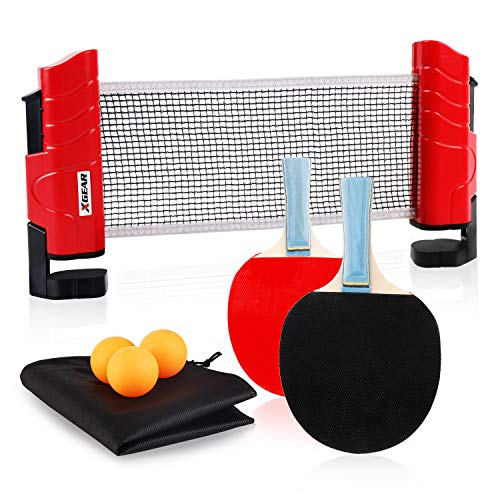 XGEAR Juego de Ping Pong con 2 Raquetas + 3 Bolas Pelotas Tenis de Mesa + 1 Red Retractil + 1 Bolsa Conjunto de Pingpong Set Portatil para Interior al Aire Libre Regalo (Rojo Clasico)