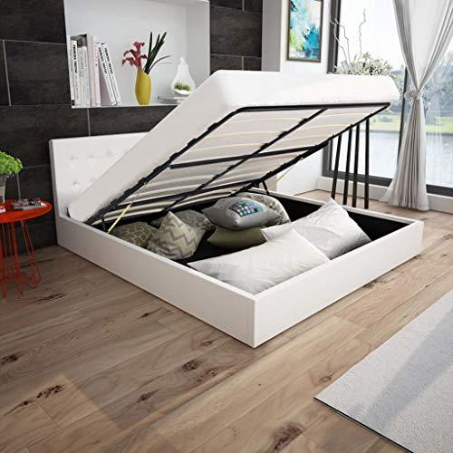 FAMIROSA Cama canapé con colchón Cuero Artificial Blanca 180x200 cm Blanco-2449