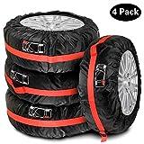 Queta Sacoche de Pneu de Voiture pour pneus de Voiture 13-17', 4 x Sacs de pneus avec Position de Pneu et poignée Noir/Rouge