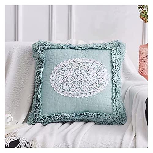 JSJJWSX Funda de cojín de encaje con bordado europeo, hecha a mano, funda de almohada para sofá con núcleo interior (color gris profundo)