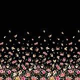 Soimoi Schwarz Viskose Chiffon Stoff Blätter und Blumen