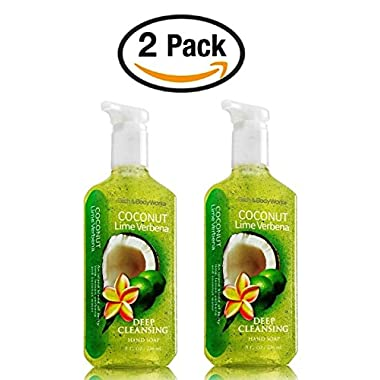 Bath & Body Works Coconut Lime Verbena Soap - Pack of 2 Zesty Lime, Lemon Verbena, and Coconut Water Scented Deep Cleansing Hand Soaps with exfoliating microsphere beads