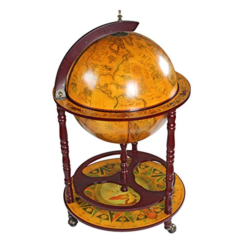 Design Toscano Sixteenth-Century Italian Replica Globe Bar Cart Cabinet on Wheels, 38', Sepia Finish