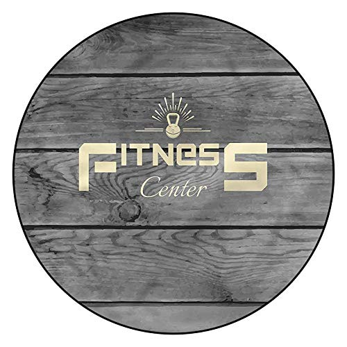 3D Fitness Pattern Area Rugs Carpets,5' Round,Club Wood Planks Floor Carpet with Non Slip Backing for Bedroom Livingroom Dorm Kids Room Indoor Home Decorative