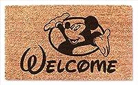 Welcome Hello Mickey ファニー ドアマット - 滑り止めドアマット - 玄関 屋外 フロアマット - お手入れ簡単 ホームデコレーション 引っ越し祝いのプレゼント 結婚式 誕生日 新居 閉店ギフトラグ -
