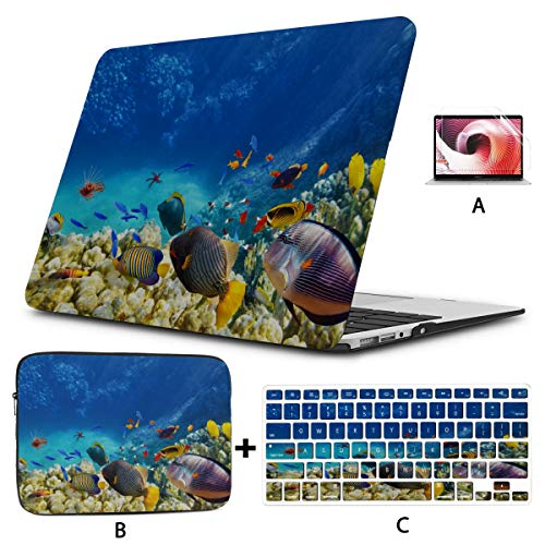 A1534 Macbook Case Coral Reefs And Tropical Fish Cover Macbook Pro Hard Shell Mac Air 11'/13' Pro 13'/15'/16' With Notebook Sleeve Bag For Macbook 2008-2020 Version