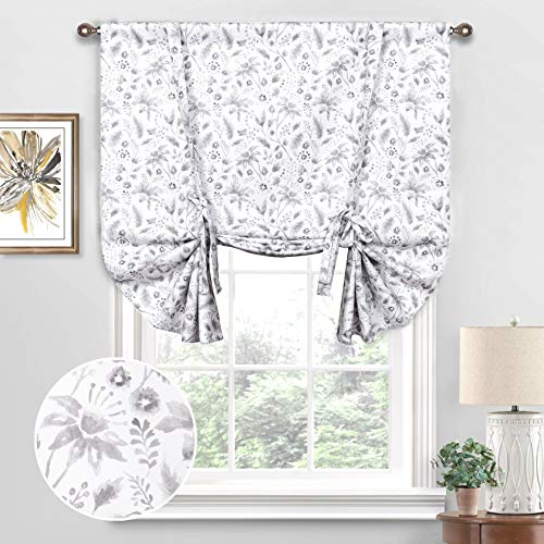 Th3mys Tie Up Curtains for Windows, Flower Floral Watercolor Pattern Adjustable Tie Up Shade Rod Pocket Room Darkening Thermal Insulated for Small Window for Kitchen Badroom 42 by 63 Inch Gray