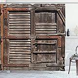 ABAKUHAUS Rustikal Duschvorhang, Italienische Tür aus Holz, Bakterie Schimmel Resistent inkl. 12 Haken Waschbar Stielvoller Digitaldruck, 175 x 200 cm, Umbra Braun