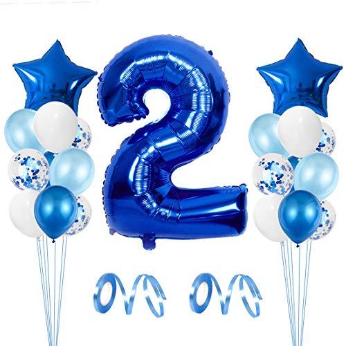 Zaloife Luftballon 2. Geburtstag Junge, Deko 2 Geburtstag Junge Blau, 2 Jahre Geburtstagsdeko, 2.Geburtstag Blau, Riesen Folienballon Zahl 2, Kindergeburtstag 2, Zahlenballons 2 Deko