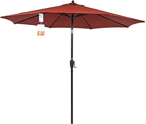 Sundale Outdoor 9 Ft Sunbrella Fabric Patio Garden Market Umbrella Push Button Tilt And Crank Terracotta