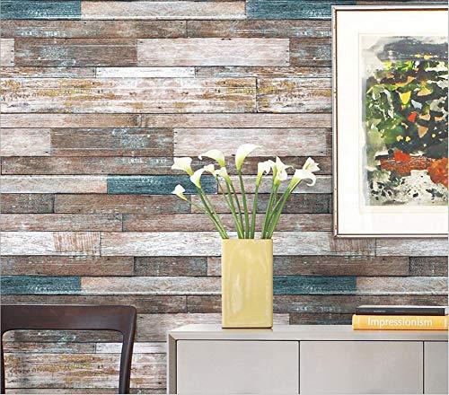 Houten Graan Behang, Vintage Oude Imitatie Houten Board Stitching Decal PVC Horizontale En Verticale Twee-weg Muren Effect Kalligrafie Achtergrond Muurdecoratie Muurdoek (53 * 1000cm)