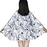 G-like Kimonos japoneses para mujer – Disfraz tradicional Haori Robe Tokio Harajuku Dragón patrón Antiguo chaqueta de noche albornoz (White Crane)