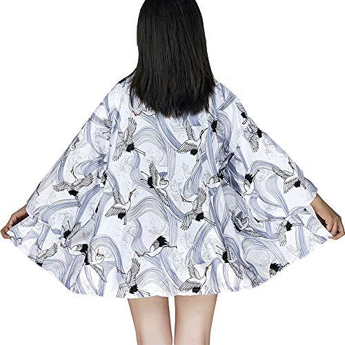 G-like Japanische Kimonos Damen Kleiung - Traditionell Haori Kostüm Robe Tokio Harajuku Drachen Muster Antik Jacke Nachthemd Bademantel Nachtwäsche (White crane)