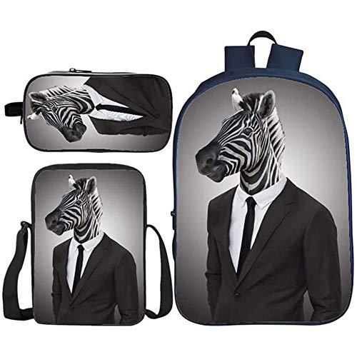 HOOBBI 3pcs Child School Bookbags 3D Zebra Imprime Elemental Cómodo y Transpirable Mochila para la Mochila de la Escuela Primaria Conjunto con Kits de Almuerzo y Cajas de lápiz (Color : Animal11)