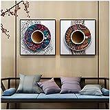 cuadros decoracion salon HD estilo étnico taza de café impresa imágenes artísticas de pared en lienzo pintura flores patrón carteles sala de estar hogar decoración 11.8x11.8in (30x30cm) x2pcs NoFrame