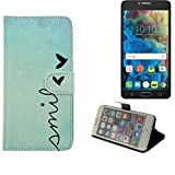 K-S-Trade® Schutzhülle Für Alcatel One Touch Pop 4S Hülle Wallet Case Flip Cover Tasche Bookstyle Etui Handyhülle ''Smile'' Türkis Standfunktion Kameraschutz (1Stk)